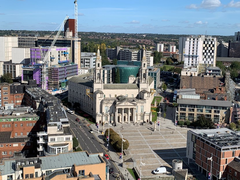 Updated advice and guidance on events in Leeds: Leeds Civic Hall Millennium Square aerial