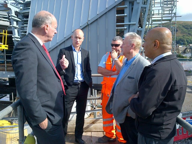 David Rees AM and Stephen Kinnock MP with Network Rail workers at Port Talbot Parkway station