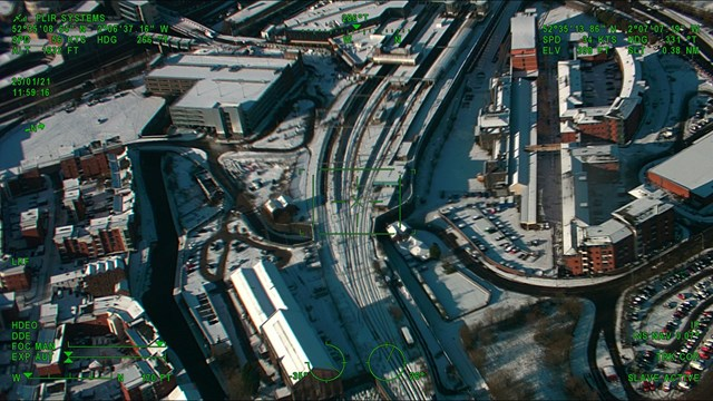 Aerial view of Wolverhampton station in the snow 2 - Credit: Network Rail Air Operations Team