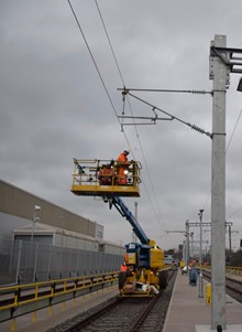 Work to overhead wires at West Ealing 256407 256447