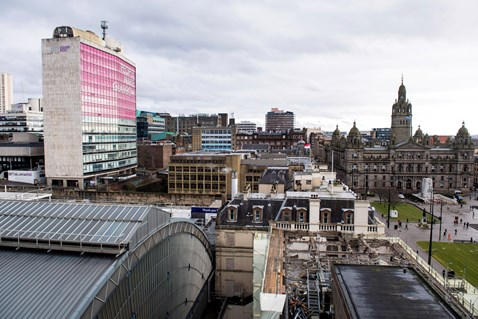Glasgow Queen Street - Consort House demolition 2 (view east towards George Square)
