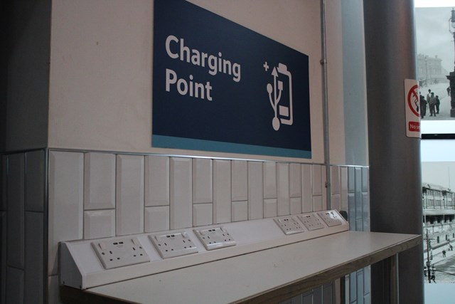 Charging points at Piccadilly platforms 13 and 14 satellite lounge