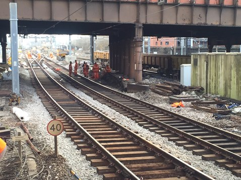 Track lowering at Cheetham Hill road bridge Manchester