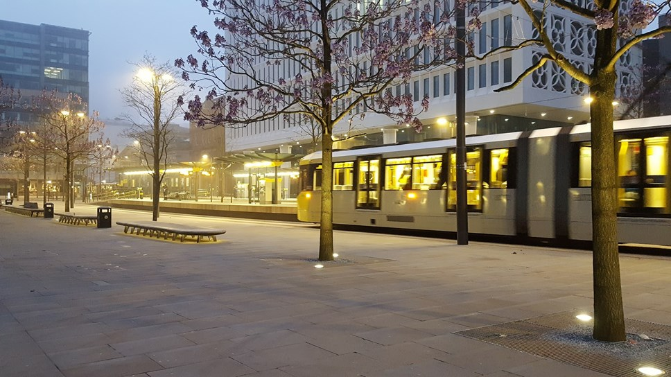 Metrolink tram at St Peter's Square
