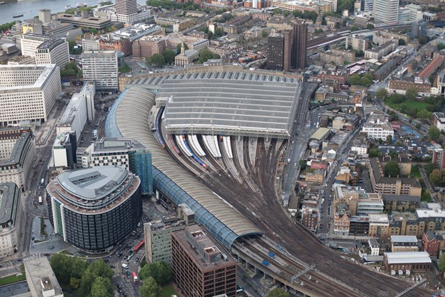 Have your say on rail industry plan for growth on routes to London Waterloo: Waterloo station aerial view 4 (October 2010)