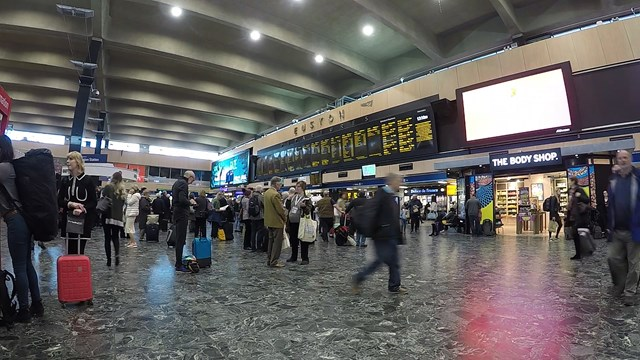 Passengers reminded of major engineering work on West Coast main line over Easter & May bank holidays: Euston station concourse February 2019