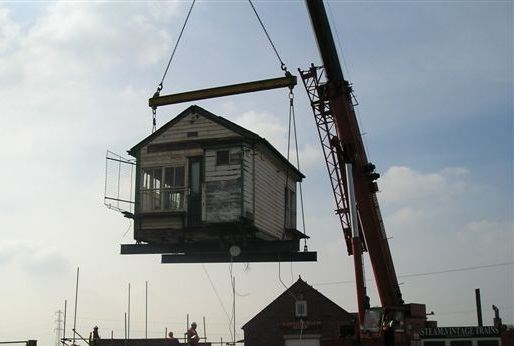 Hademore Signal Box on the move: Hademore Signal Box on the move to Chasewater Railway