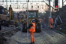 Engineers working to improve the railway at Witham, March 2015