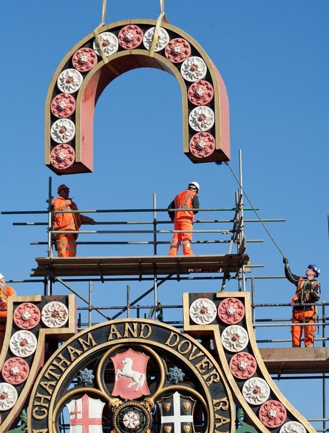 Historic cartouches return to Blackfriars station