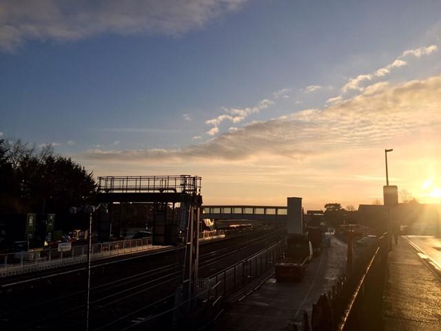 Team Orange complete major section of Reading to Newbury electrification on time: Newbury station sunrise