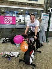 On yer bike at Cardiff Central as staff go the extra mile for charity: BarryLloydWalesWheels