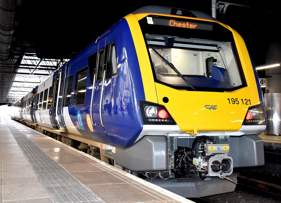 New trains make bow on Chester to Leeds route: Class 195 at Manchester Victoria 1