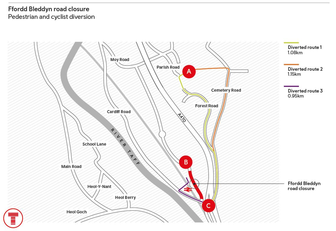Ffordd Bleddyn road closure pedestrian and cycle diversion-2