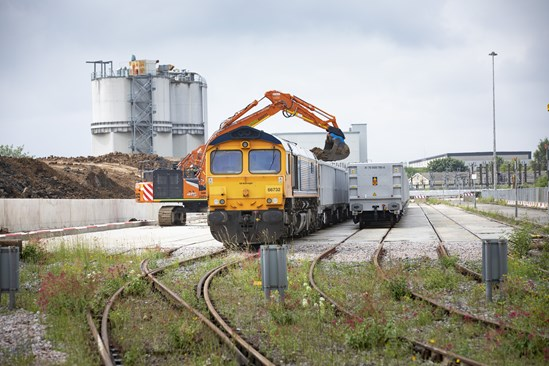 First rail freight delivery out of the HS2 SCS main works logistics hub: Credit: John Zammit