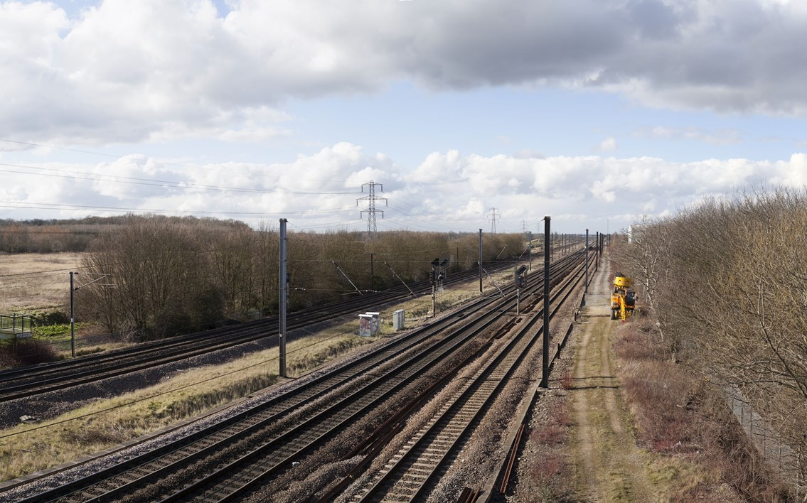 New 'dive under' plans revealed as Werrington consultation begins: The East Coast Main Line near Werrington Junction (photo credit Arup)
