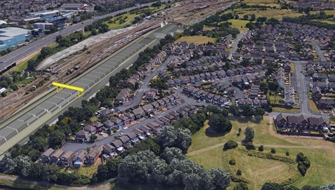 Aerial view of proposed Bescot sleeper facility