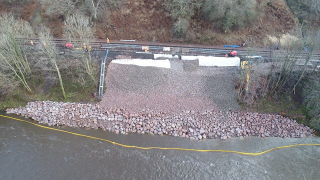 Services resume on storm damaged Dumfries railway: DJI 0003