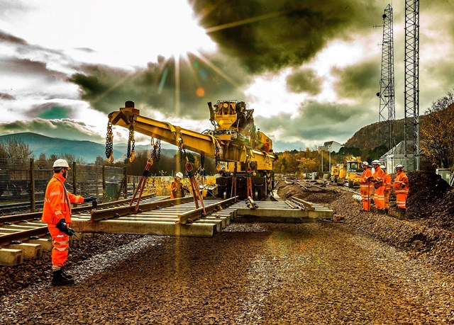 Extra rail investment for North East and Highland passengers: Engineers renewing track at Aviemore