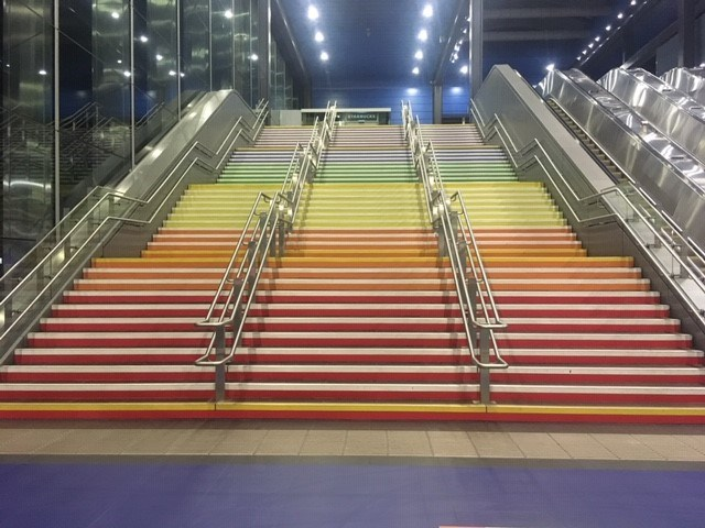 Pride Steps at Reading station August 2019