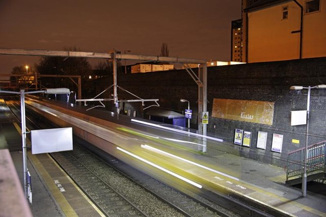 NW electrification: first train passing through Eccles 8 Dec 2013