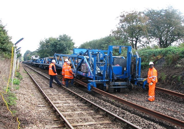 Norfolk Branch Lines engineering work: Engineering work takes place in the Brundall area during the £4.5 million track renewal project