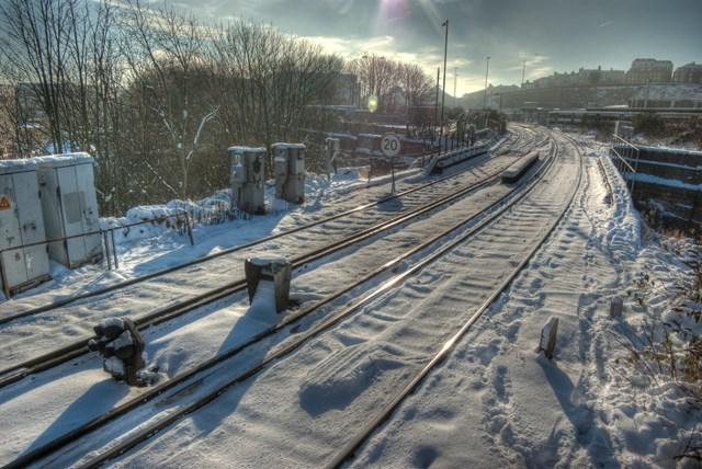 Snow covered railway tracks