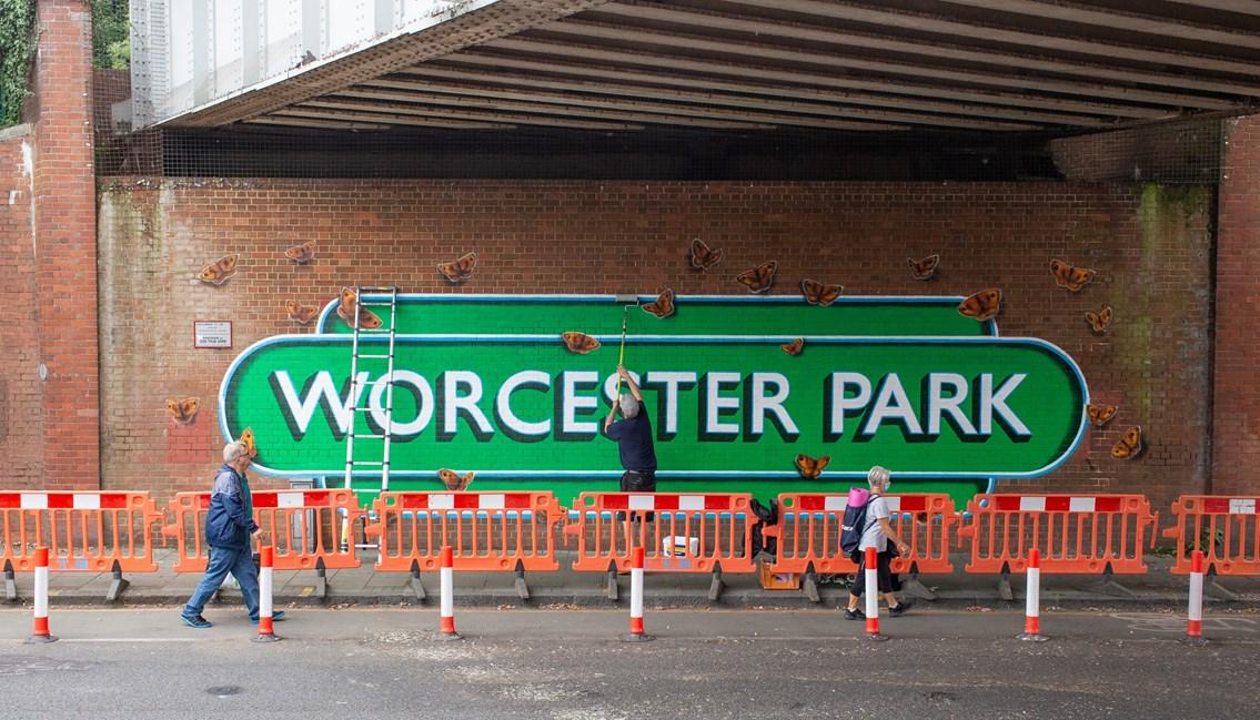 Worcester Park: Artist Lionel Stanhope works on the Worcester Park Mural