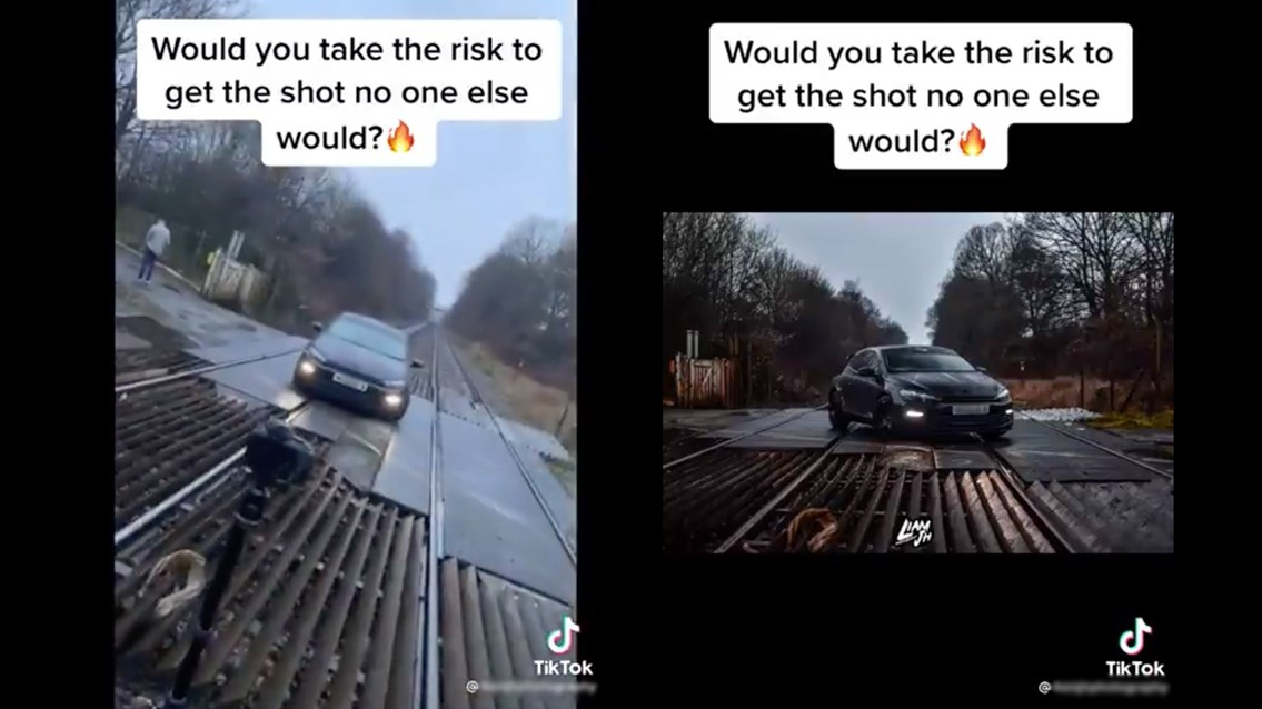 Network Rail slams reckless TikTok of live railway photoshoot: TikTok screen shot images trespass level crossing