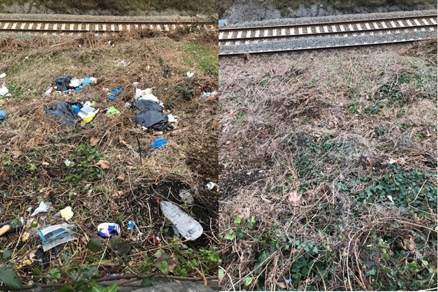 Spring clean on track - Network Rail completes tidy up of railway in Sheffield: Meadowhall before and after 1