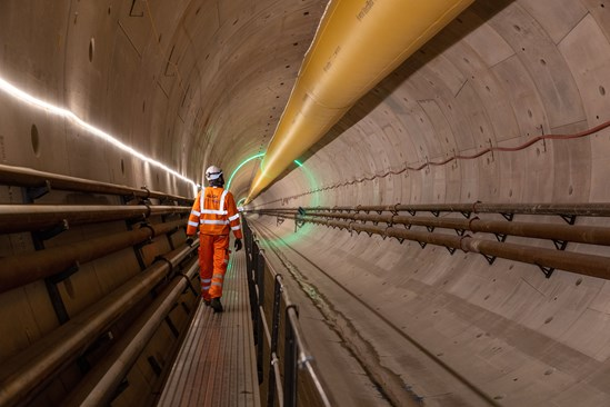 Image of a man walking within the Chiltern tunnel autumn 2021 #28599-2