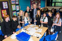 Raising aspirations in science: Science Minister Shirley-Anne Somerville and Sir Ian Wood with pupils at Blackhall Primary