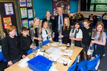 Science Minister Shirley-Anne Somerville and Sir Ian Wood with pupils at Blackhall Primary