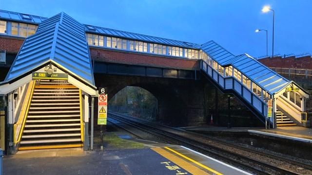 Station footbridge upgrade improves Merseyrail network for passengers: Bromborough station footbridge from platform