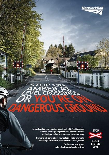 Amber light warning cyclist poster