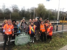 Members of the Hadley Wood Rail Users Group at the launch of the Hadley Wood Community Planting Project