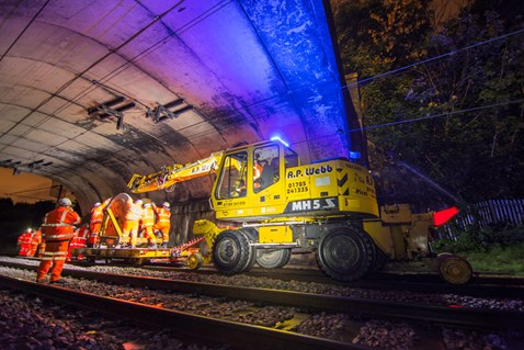 Replacing cable on the West Coast main line in Staffordshire after copper thieves stole sections of it