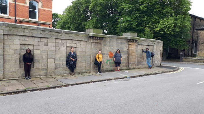 A Garden Through Time: Members of the team who will be working on A Garden Through Time standing at what is believed to have been the entrance to the Leeds Zoological and Botanical Gardens.