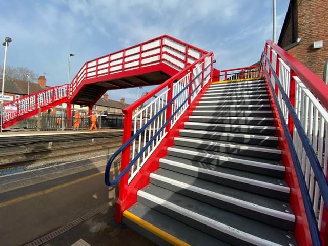 Refurbished footbridge at Oakham station