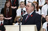 First Minister with Lasswade High School choir: A new generation of community facilities, including two of Scotland's first secondary-level Schools for the Future, were opened today.