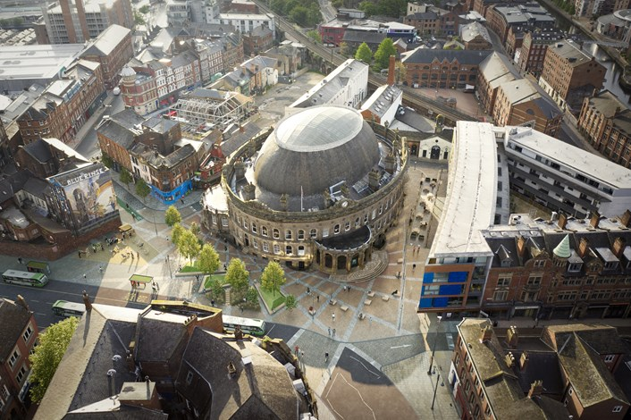 Leeds City Council approves funding to improve public realm outside the city's iconic Corn Exchange building: CornExchange AerialView 01