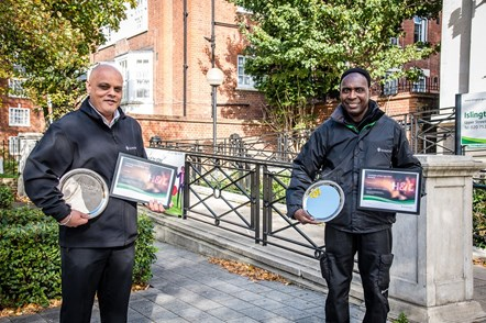 Lat Singh and Francis Oduro stand outside the Town Hall after winning the Concierge and Caretaker of the Year awards: Lat Singh (pictured left) and Francis Oduro (pictured right) stand outside the Town Hall after winning the Concierge and Caretaker of the Year awards