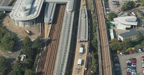 Work begins to prepare Ashford International platforms for new international trains: Ashford International aerial