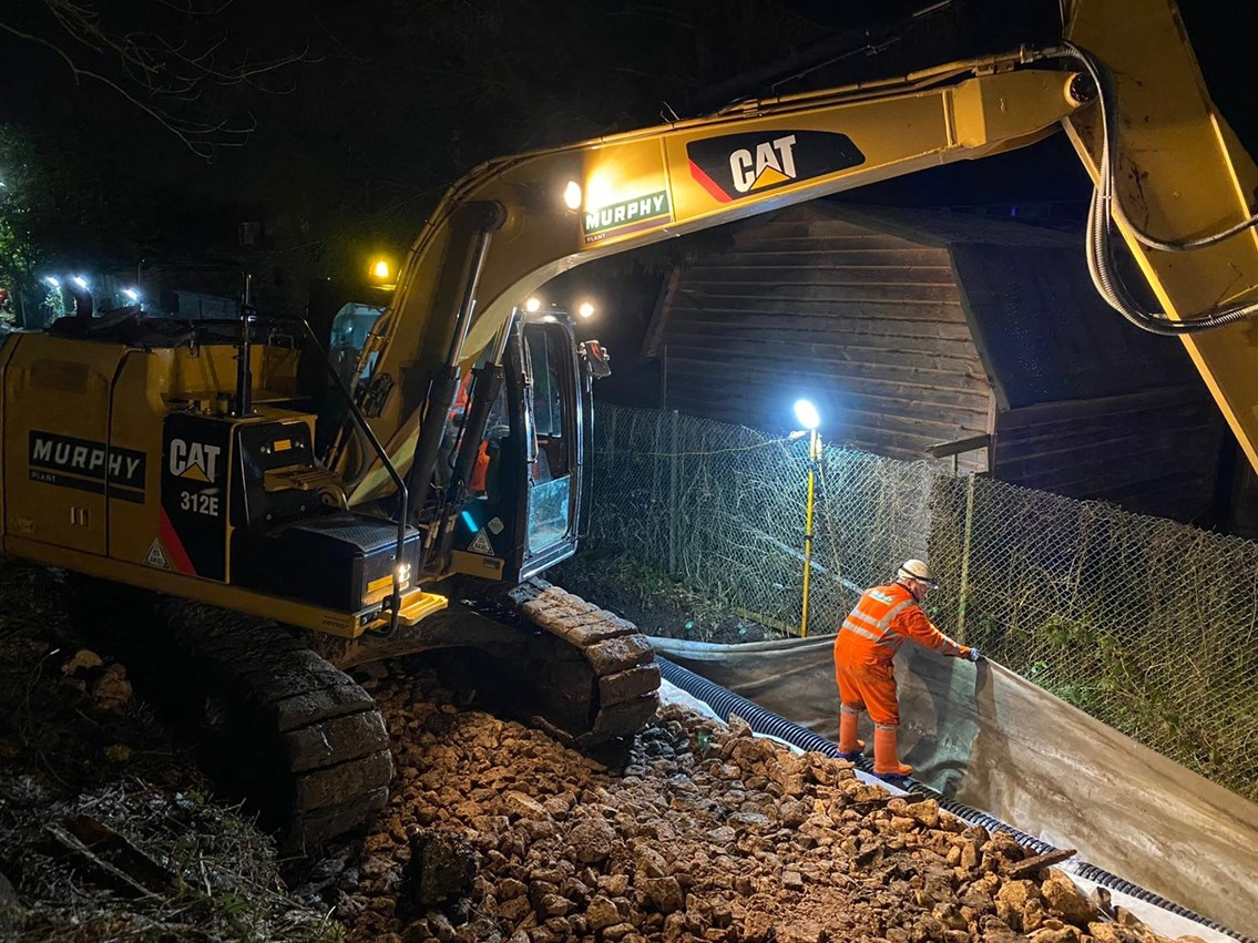 UPDATE: Emergency rail works continue at Ingatestone to repair embankment: Ingatestone emergency works 4