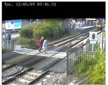 OAPs make a run for it at Wareham level crossing, Dorset: OAPs make a run for it at Wareham level crossing, Dorset