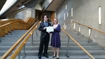 Higgs Physics Prize winners: Scotland's Science Minister, Shirley-Anne Somerville- with winner Daniel Johnstone