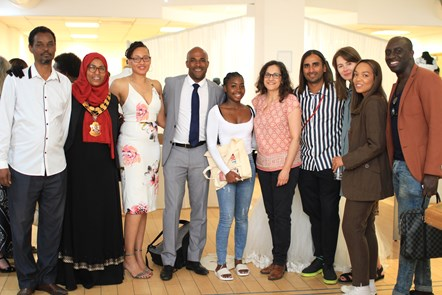 Fonthill Road Fashion Village Launch 2: Mayor of Islington Cllr Rakhia Ismail, second from left, and Cllr Asima Shaikh, fifth from right, with volunteer models for the #FRFV lookbook and officers who have helped with the marketing campaign.