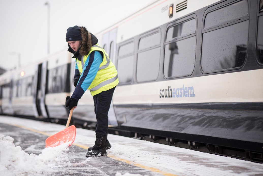 Ice, ice maybe? The weather outside may turn frightful, but Network Rail and Southeastern's snow-and-ice-busting trains will work around the clock to keep you moving: Southeastern train in the snow 2018