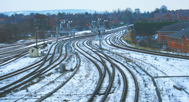 Snow covered railway - signals
