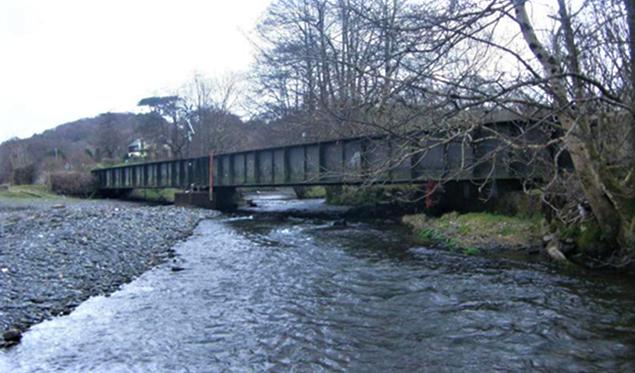Wales railway first: Work begins to lift bridge out of river flood zone: Black Bridge photo