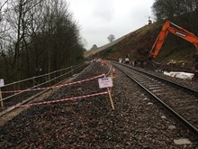 track bed subsided 1.5 metres after the Eden Brows embankment began moving